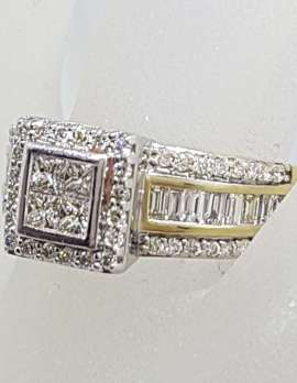 9ct Yellow Gold Square Wide Channel Set and Claw Set Cluster Diamond Engagement / Dress Ring