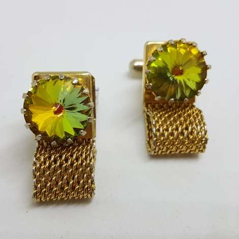 Vintage Costume Gold Plated Cufflinks – Round - Large Yellow Mystic
