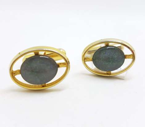 Vintage Costume Gold Plated Cufflinks – Oval - Blue / Green