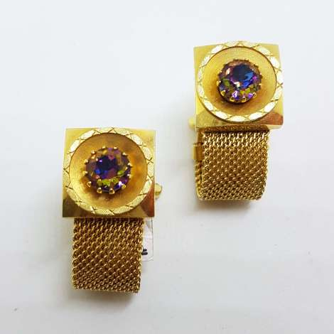 Vintage Costume Gold Plated Cufflinks – Large Square – Mystic