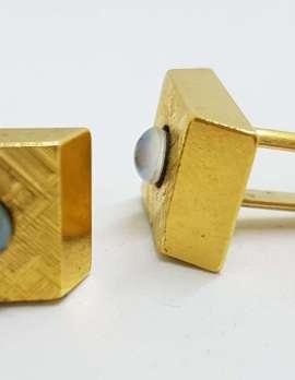 Vintage Costume Gold Plated Cufflinks – Rectangular – Opal Triplet