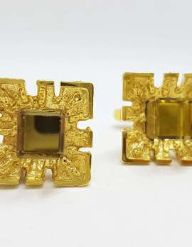 Vintage Costume Gold Plated Cufflinks – Square – Brown