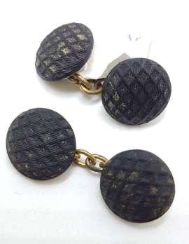 Vintage Costume Cufflinks – Round – Black