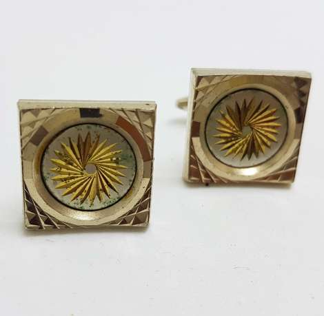 Vintage Costume Silver Plated Cufflinks – Square - Hobnail Pattern