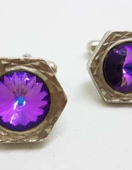 Vintage Costume Silver Plated Cufflinks - Hexagonal - Purple Mystic