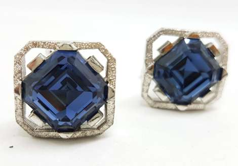 Vintage Costume Silver Plated Cufflinks - Large Square - Blue