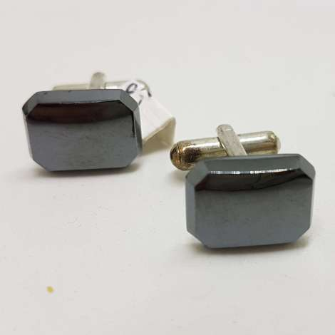 Vintage Costume Silver Plated Cufflinks - Rectangular - Iron Ore / Hematite