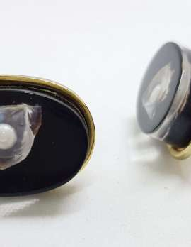 Vintage Costume Gold Plated Cufflinks - Oval - Black with Pearl in Shell