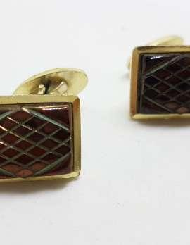 Vintage Costume Gold Plated Cufflinks - Rectangular - Black/Brown Diamond Cut Pattern