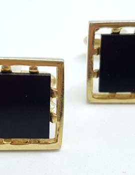 Vintage Costume Gold Plated Cufflinks - Rectangular - Black