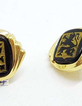 Vintage Costume Gold Plated Cufflinks – Black with Rampant Lion
