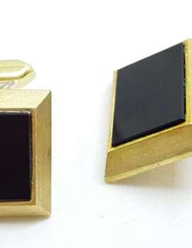 Vintage Costume Gold Plated Cufflinks - Square - Black