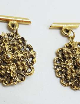 Vintage Costume Gold Plated Cufflinks – Round - Large Ornate Filigree