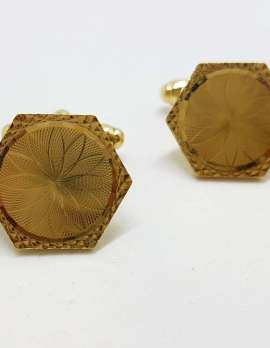 Vintage Costume Gold Plated Cufflinks – Hexagonal - Patterned