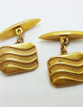 Vintage Costume Gold Plated Cufflinks – Rectangle - Wavy Pattern