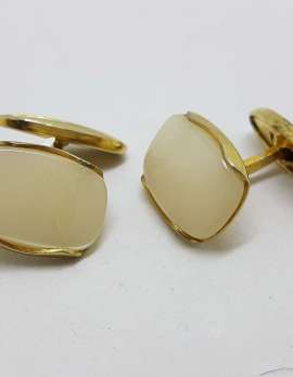 Vintage Costume Gold Plated Cufflinks - Oblong - Mother of Pearl