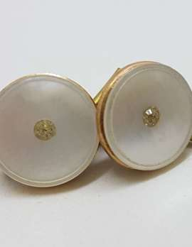 Vintage Costume Gold Plated Cufflinks – Round - Mother of Pearl