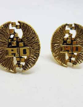 Vintage Costume Gold Plated Cufflinks - Large Oval - P.D.