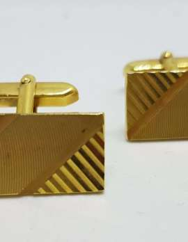 Vintage Costume Gold Plated Cufflinks - Rectangular - Line Pattern