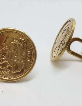Vintage Costume Gold Plated Cufflinks - Round - Sovereign Coin Design