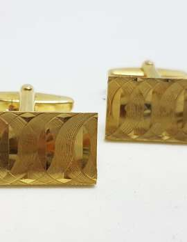 Vintage Costume Gold Plated Cufflinks - Rectangular - Patterned Design