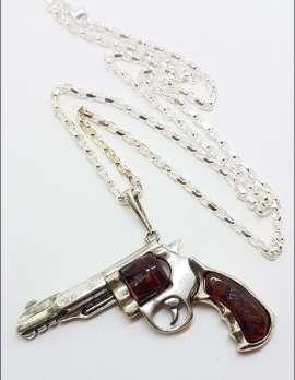 Sterling Silver Large Natural Baltic Amber Gun / Revolver / Pistol Pendant on Long Silver Chain - Dark