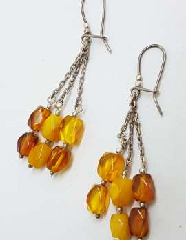 Sterling Silver Natural Baltic Amber Beads on Long Chain Drop Earrings - 3 Row