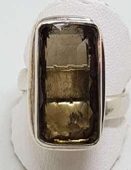 Sterling Silver Large Rectangular Bezel Set Smokey Quartz Ring