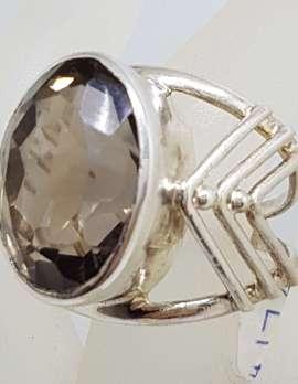 Sterling Silver Large Oval Arrow Design Bezel Set Smokey Quartz Ring