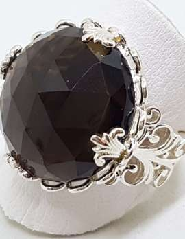 Sterling Silver Large Round Ornate Filigree Claw Set Smokey Quartz Ring
