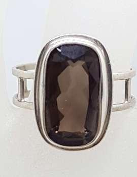 Sterling Silver Rectangular Bezel Set Open Band Design Smokey Quartz Ring