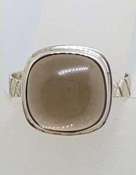 Sterling Silver Square Cabochon Cut Smokey Quartz Ring