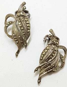 Sterling Silver Vintage Marcasite Clip-On Earrings