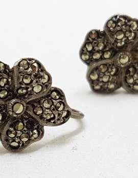 Sterling Silver Vintage Marcasite Screw-On Earrings - Flower