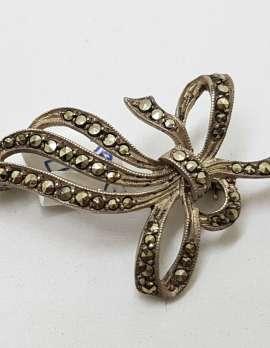 Sterling Silver Vintage Marcasite Brooch - Ribbon