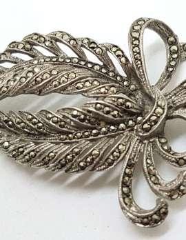 Sterling Silver Vintage Marcasite Brooch - Large