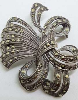 Sterling Silver Vintage Marcasite Large Ornate Bow Brooch