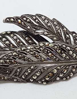 Sterling Silver Vintage Marcasite Brooch – Very Large Leaf