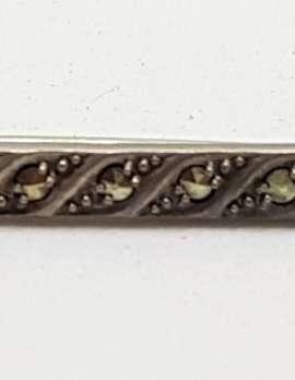 Sterling Silver Vintage Marcasite Bar Brooch