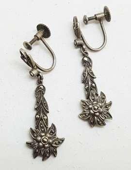 Sterling Silver Vintage Marcasite Screw-On Earrings - Edelweiss Flower Long Drop