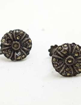 Sterling Silver Vintage Marcasite Screw-On Earrings - Round