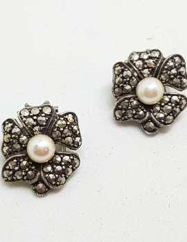 Sterling Silver Vintage Marcasite Screw-On Earrings - Flower with Pearl