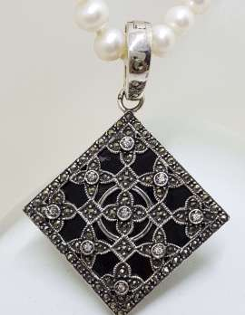 Sterling Silver Marcasite, Cubic Zirconia & Onyx Large Ornate Square Enhancer Pendant on Pearl Chain