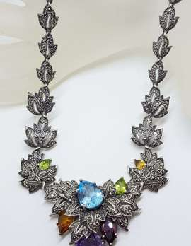 Sterling Silver Marcasite, Topaz, Amethyst, Garnet, Peridot and Citrine Ornate Leaf Collier Necklace / Chain