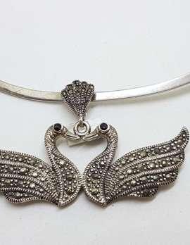 Sterling Silver Marcasite Two Swan Bird Pendant on Silver Choker