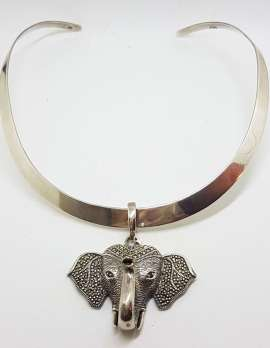 Sterling Silver Marcasite & Garnet Large Elephant Head Enhancer Pendant on Thick Silver Choker Chain / Necklace
