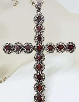 Sterling Silver Marcasite and Garnet Very Large Cross / Crucifix Pendant on Long Silver Chain / Necklace
