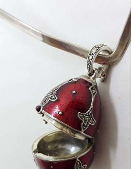 Sterling Silver Marcasite with Red Enamel Faberge Style Egg (which opens) Enhancer Pendant on Silver Choker Chain / Necklace
