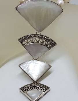 Sterling Silver Large & Long Marcasite with Mother of Pearl Fan Drop Pendant on Pearl Chain / Necklace
