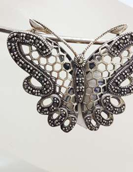 Sterling Silver Marcasite Large Ornate Filigree Butterfly Pendant on Silver Choker Chain / Necklace